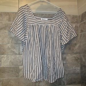 TIME AND TRU WOMENS PLUS STRIPED BLOUSE SZXXL